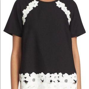 NWOT Kate Spade Black White Floral Blouse 6